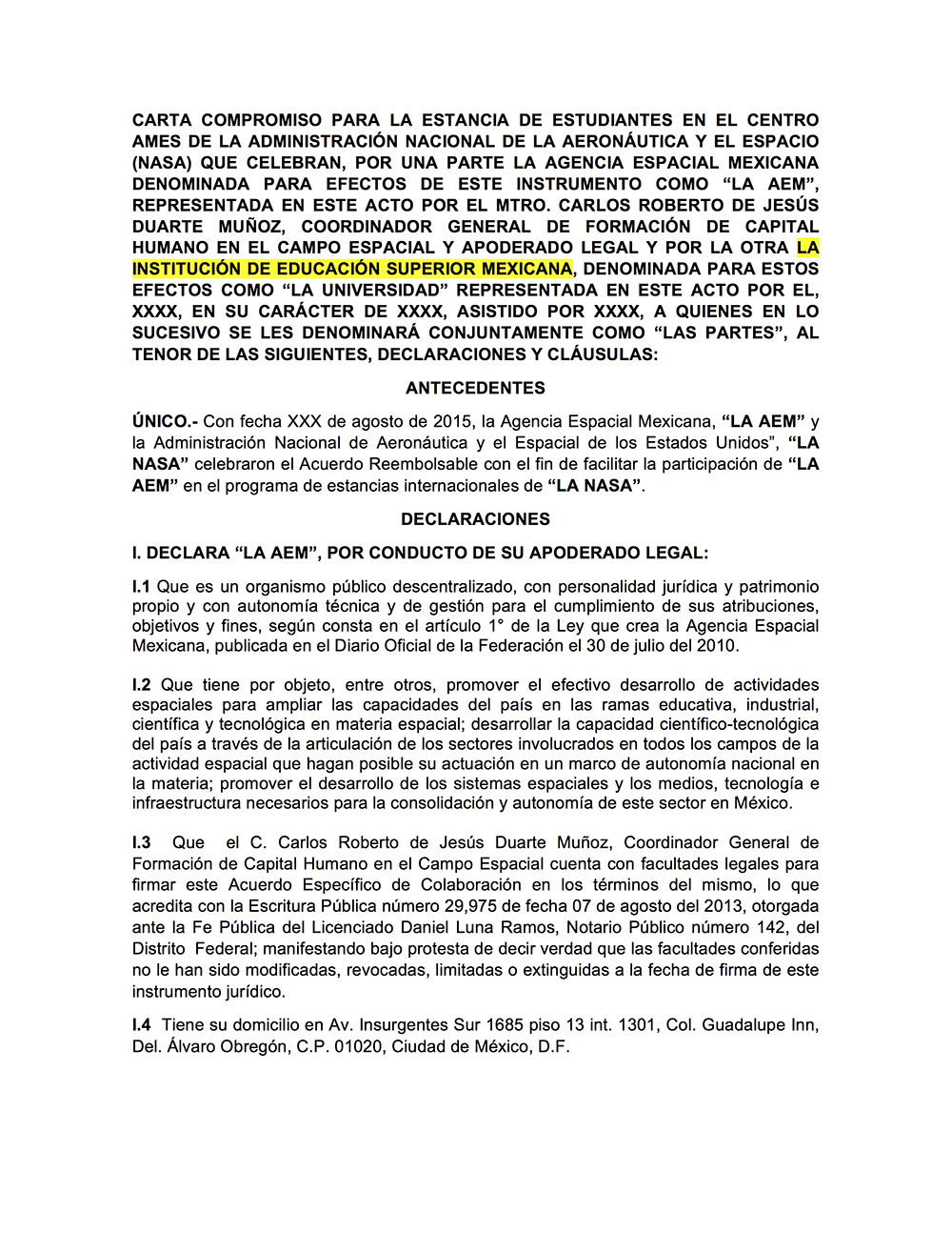 Documento Anexo cinco Carta compromiso institucional para dosmildiezyseis en formato word editable
